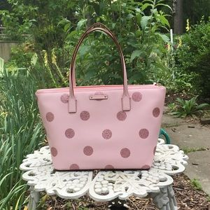 Kate Spade Hani Haven Pink Glitter Polka Dot Tote